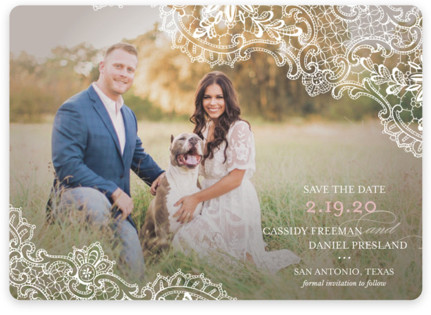 photo of White Lace Save The Date Magnets