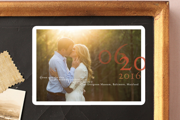 """Belle Memoire Landscape"" - Modern Save The Date Magnets in Pearl by Helena Seo Design."