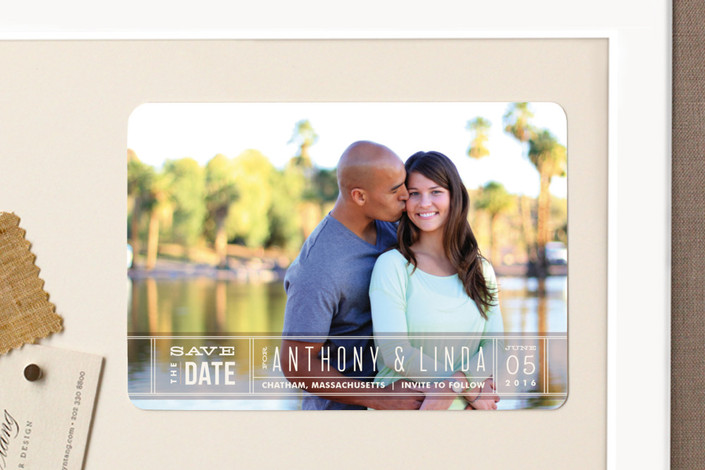 """""""Silver Screen"""" - Bold typographic, Modern Save The Date Magnets in Kumquat by Jennifer Wick."""