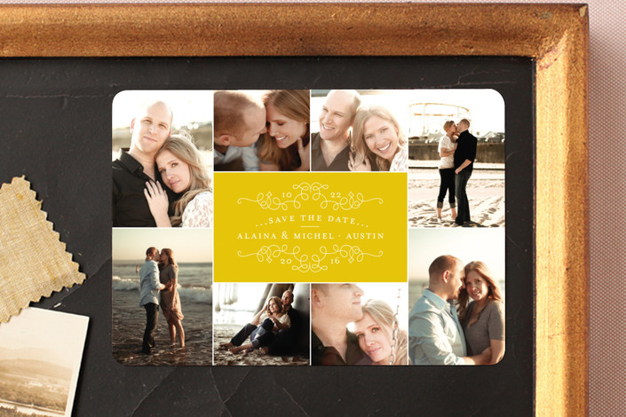 """""""Classic Collage"""" - Classical, Formal Save The Date Magnets in Sunshine by Jody Wody."""