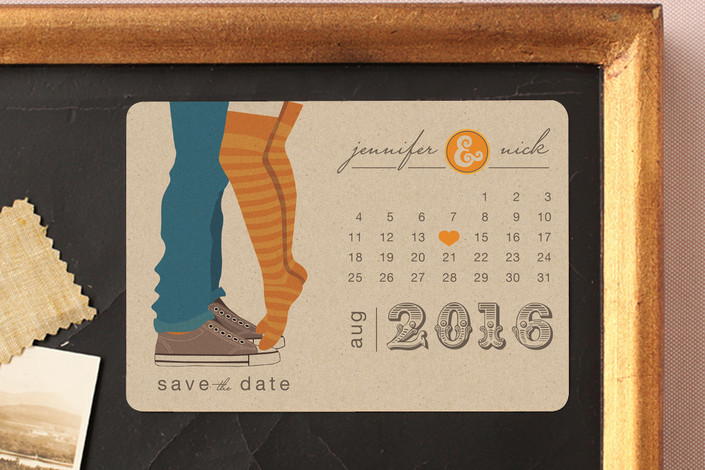 """""""Tiptoe Kiss"""" - Bold typographic, Modern Save The Date Magnets in Mango by My Splendid Summer."""