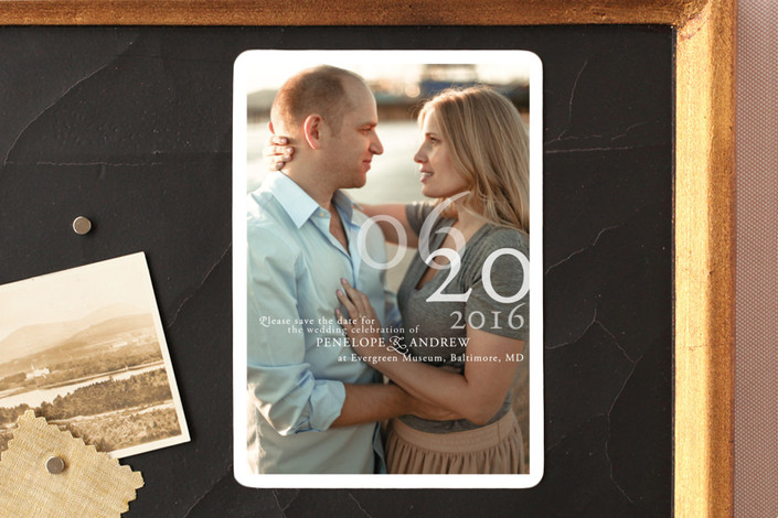 """""""Belle Memoire Portrait"""" - Modern Save The Date Magnets in Pearl by Helena Seo Design."""