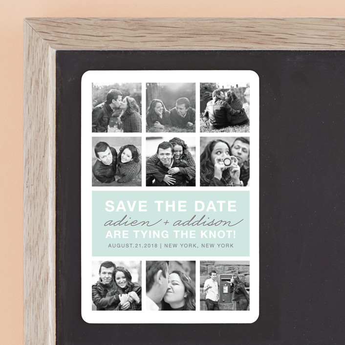 """Photo Gallery"" - Modern Save The Date Magnets in Sea by The Social Type."