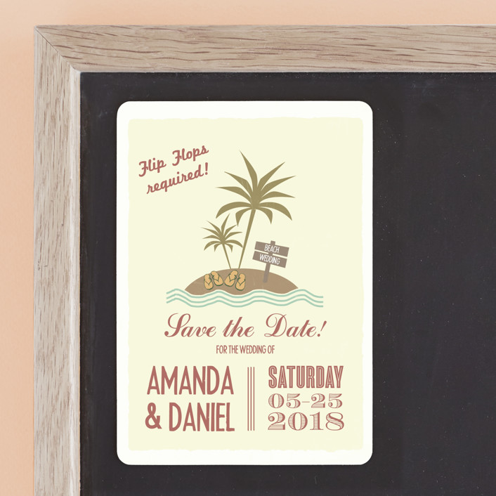 """Flip Flops Required"" - Bold typographic, Beach Save The Date Magnets in Rust by Designkandy."