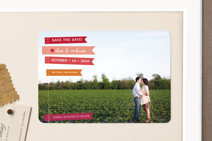 """""""Stitched Flags"""" - Modern, Full-Bleed Photo Save The Date Magnets in Ruby by Snow and Ivy."""