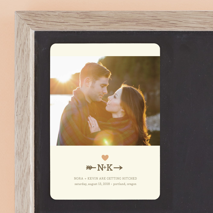 """Love Struck"" - Monogrammed, Rustic Save The Date Magnets in Peach by The Social Type."