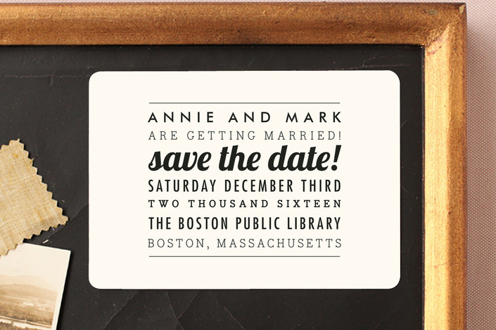 """The Square Type"" - Simple, Modern Save The Date Magnets in Cream by Design Lotus."