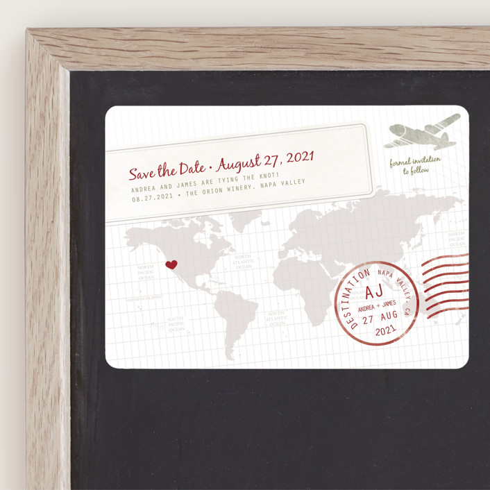"""""""A Faraway Destination"""" - Save The Date Magnets in Cranberry by bumble ink."""