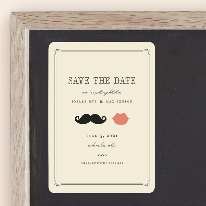 """""""Stache + Kiss"""" - Whimsical & Funny, Vintage Save The Date Magnets in Crème by Penelope Poppy."""