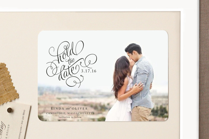 """""""Hold the Date"""" - Classical, Formal Save The Date Magnets in Noir by Alston Wise."""