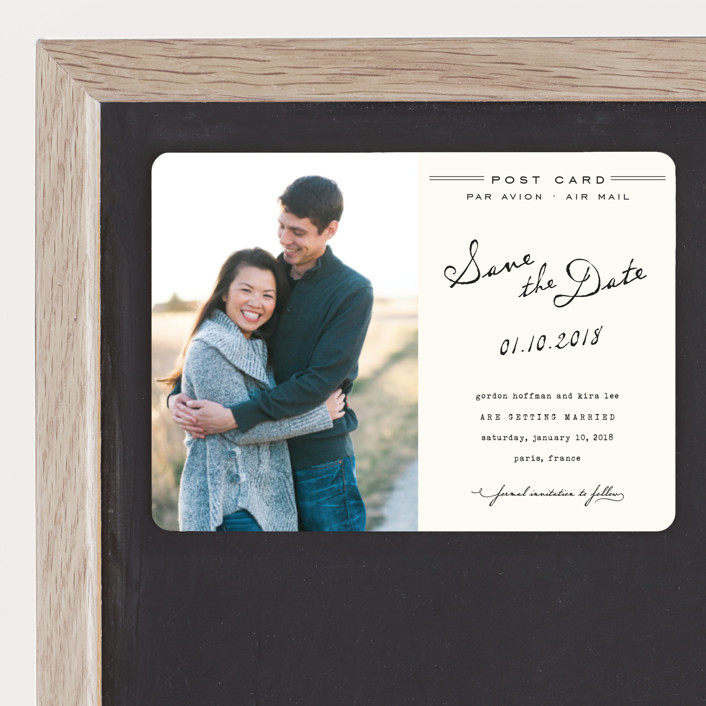 """""""Airmail"""" - Whimsical & Funny, Vintage Save The Date Magnets in Ivory by annie clark."""