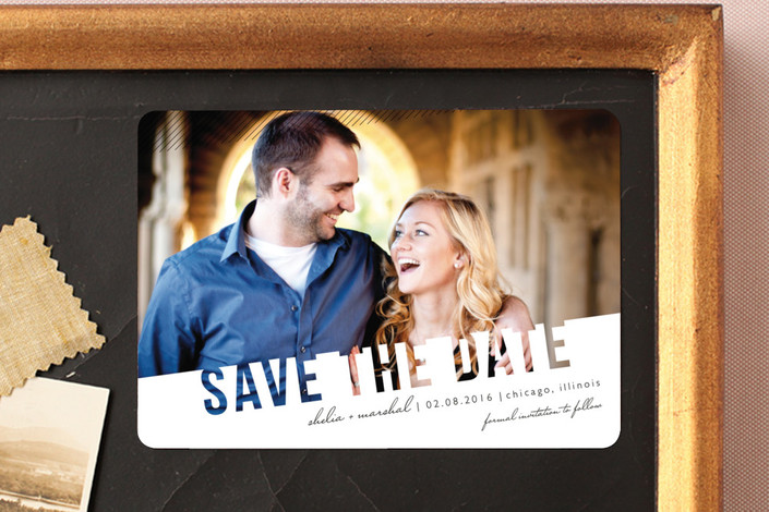 """""""Simply See Through"""" - Modern Save The Date Magnets in Salt & Pepper by Lehan Veenker."""