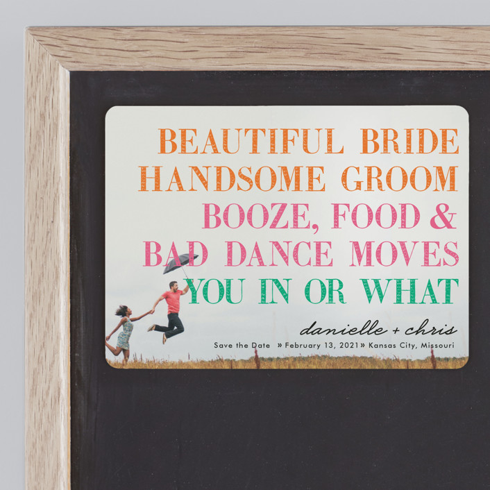 """""""You in or What"""" - Save The Date Magnets in Tangerine by hi-lighter inc.."""