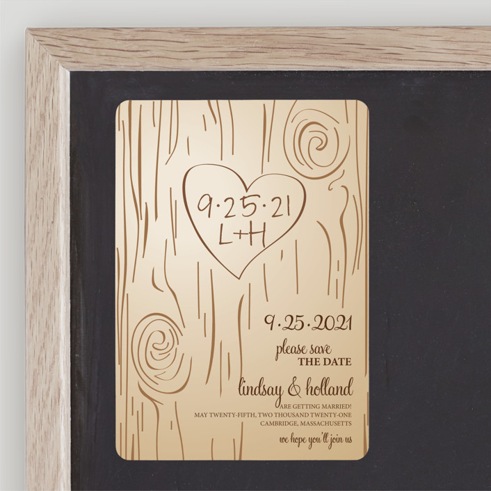 """""""Fall Carving"""" - Rustic, Whimsical & Funny Save The Date Magnets in Woodgrain by Amanda Joy."""