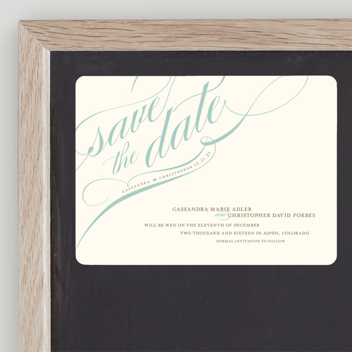 """""""Winter Flourish"""" - Elegant, Formal Save The Date Magnets in Robin'sEggBlue by annie clark."""