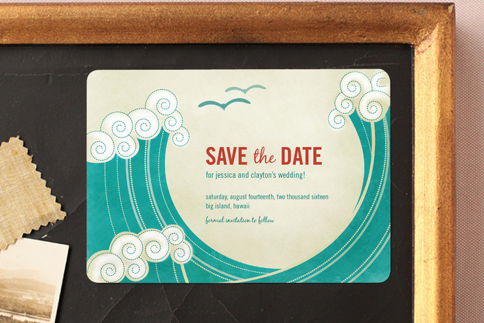 """""""BLOCK PRINT WAVES"""" - Modern, Whimsical & Funny Save The Date Magnets in Teal by bumble ink."""