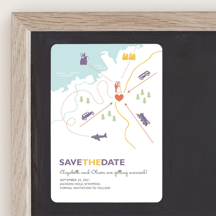 """Destination"" - Save The Date Magnets in Lilac Haze by leslie hamer."
