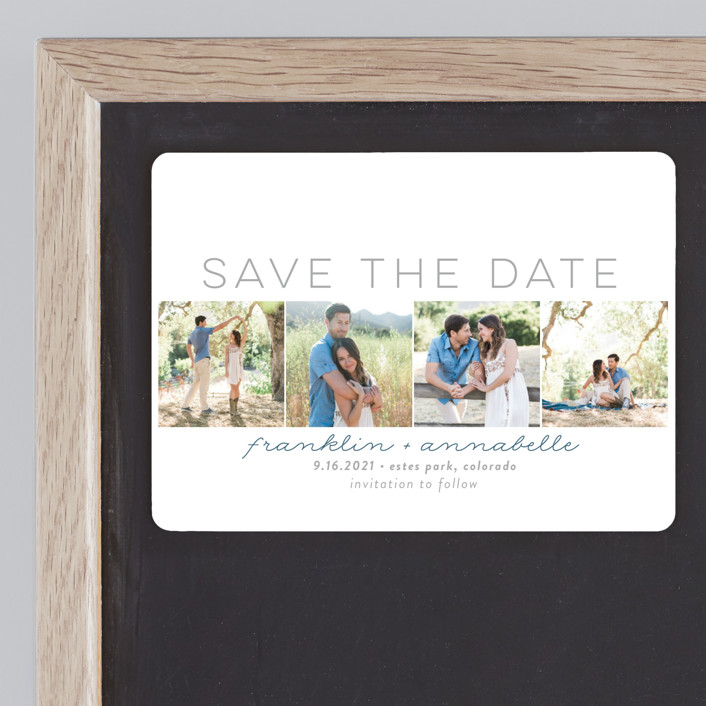 """""""Simple Frames"""" - Modern Save The Date Magnets in Dove by Sara Showalter."""