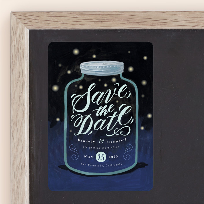 """Firefly Mason Jar"" - Rustic Save The Date Magnets in Midnight by Four Wet Feet Studio."