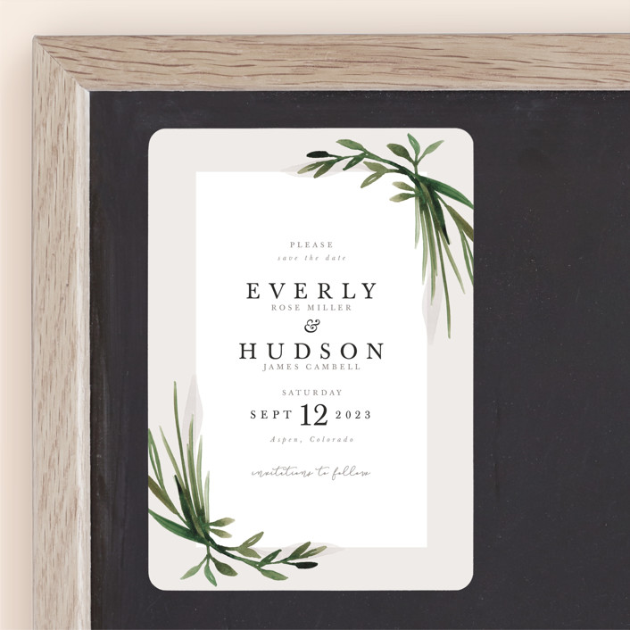"""Botanical Frame"" - Save The Date Magnets in Fern by Kate Ahn."