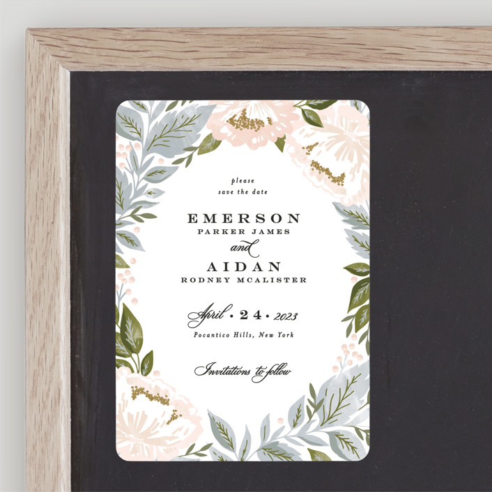 """""""Peony Floral Frame"""" - Save The Date Magnets in Cornflower by Alethea and Ruth."""