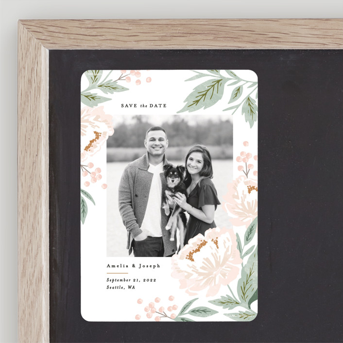 """""""Peony Florals"""" - Save The Date Magnets in Rose by Alethea and Ruth."""