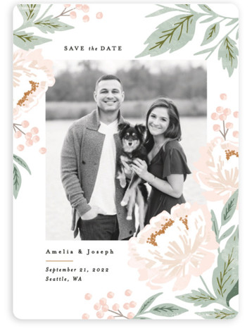 Peony Florals Save The Date Magnets