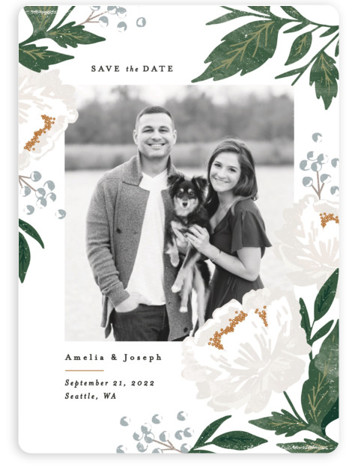 This is a portrait botanical, floral, watercolor, green, grey Save the Dates by Alethea and Ruth called Peony Florals with Standard printing on Magnet Paper in Magnet Flat Card format. This save the date features soft peony florals framing the ...