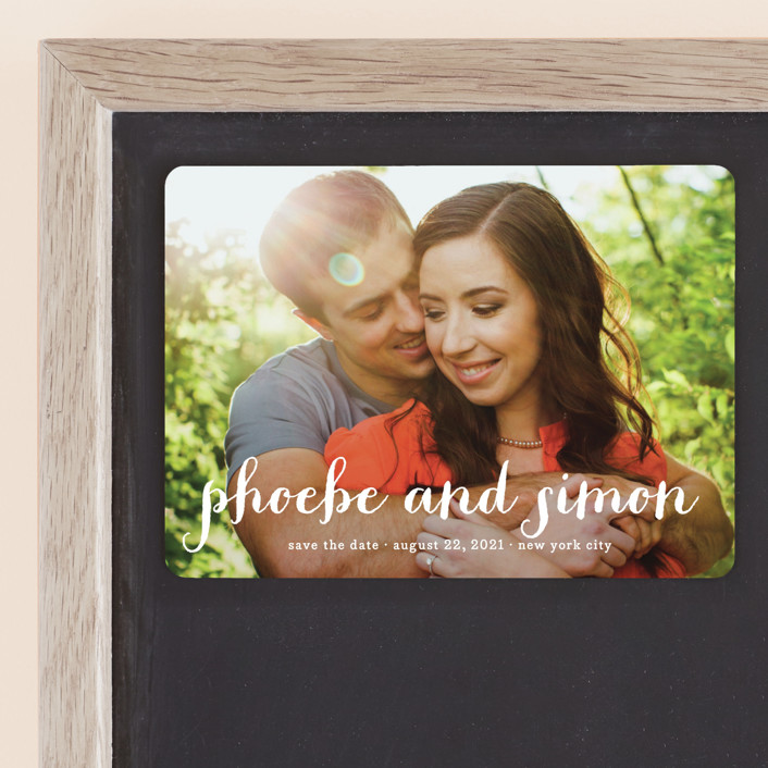 """Prescott"" - Full-Bleed Photo, Simple Save The Date Magnets in Cotton by roxy."