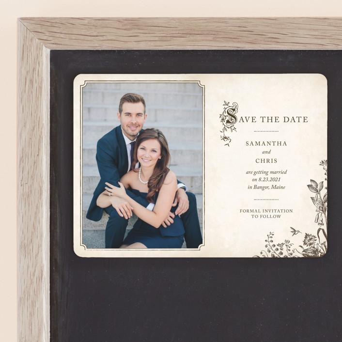 """Story Book"" - Vintage Save The Date Magnets in Winter Cream by Jody Wody."