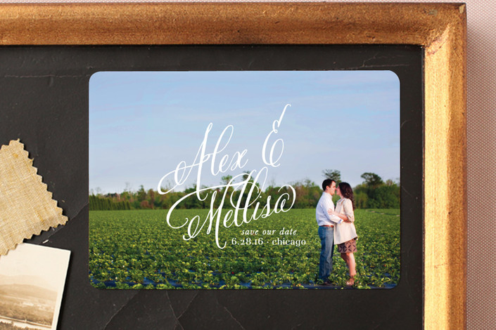 """""""Timeless Bold Typography"""" - Full-Bleed Photo, Modern Save The Date Magnets in Ivory by Leslie Ann Jones."""