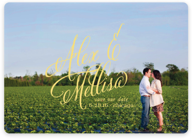 This is a landscape classical, elegant, formal, full bleed photo, modern, simple, yellow Save the Dates by Leslie Ann Jones called Timeless Bold Typography with Standard printing on Magnet Paper in Magnet Flat Card format. Our most popular Save the ...