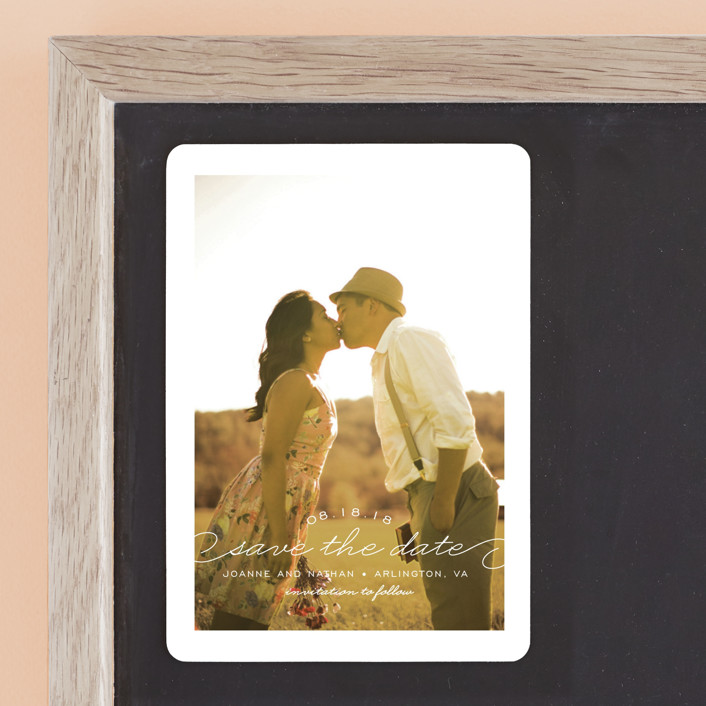 """""""Simply Timeless"""" - Full-Bleed Photo Save The Date Magnets in White by Sandra Picco Design."""