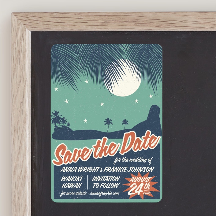 """Retro Hawaii"" - Vintage, Destination Save The Date Magnets in Teal by Coco and Ellie Design."