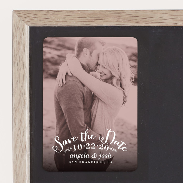 """Photogenic"" - Whimsical & Funny, Vintage Save The Date Magnets in Rose by Hooray Creative."