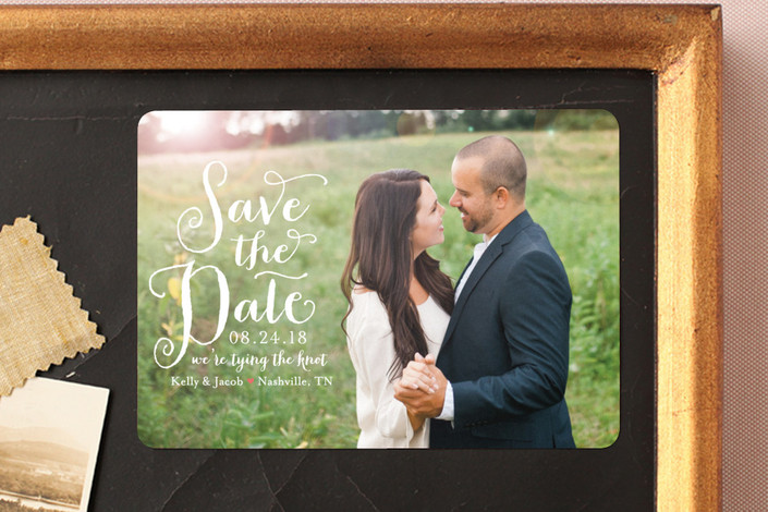 """Charmed Calligraphy"" - Full-Bleed Photo, Whimsical & Funny Save The Date Magnets in Coral by Sarah Guse Brown."