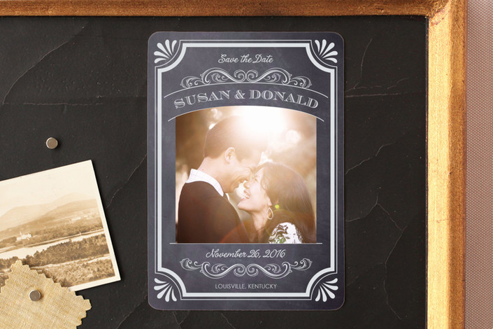 """""""A Chalkboard Marriage"""" - Vintage, Classical Save The Date Magnets in Chalk by Erin Deegan."""