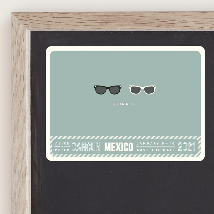 """""""Shades"""" - Whimsical & Funny, Beach Save The Date Magnets in Celadon by Olive and Violet."""