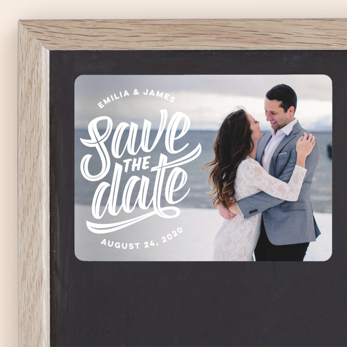 """""""Super Scripty"""" - Whimsical & Funny Save The Date Magnets in Pearl by Jessie Steury."""