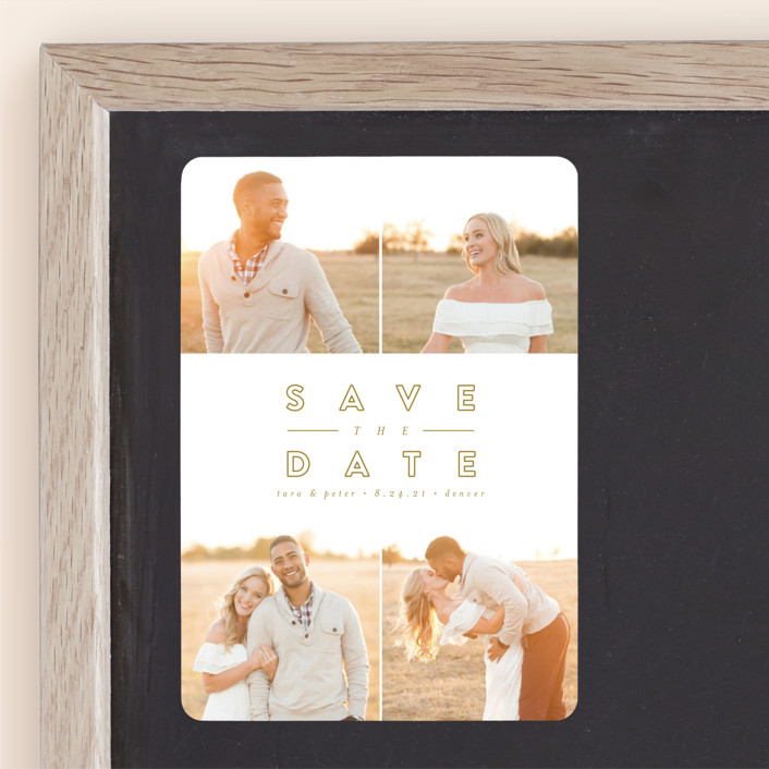 """Golden Love"" - Save The Date Magnets in Golden by peony papeterie."