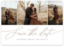 This is a brown save the date magnet by Stacey Meacham called Chantilly with standard printing on magnet paper in magnet.