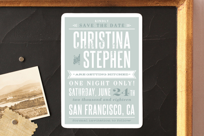 """Woodtype Poster"" - Bold typographic, Vintage Save The Date Magnets in Seafoam by Paper Dahlia."