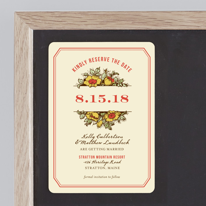 """""""Harvest Floral"""" - Rustic, Floral & Botanical Save The Date Magnets in Poppy by Paper Dahlia."""