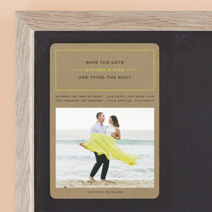 """""""Vintage Kraft"""" - Simple Save The Date Magnets in Chartreuse by Waldo Press."""