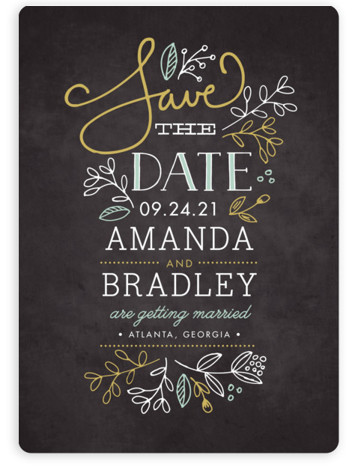 This is a portrait rustic, yellow Save the Dates by Jessica Williams called Garden Stack with Standard printing on Magnet Paper in Magnet Flat Card format. Hand drawn florals, script, and a smattering of whimsical fonts create this elegant save ...