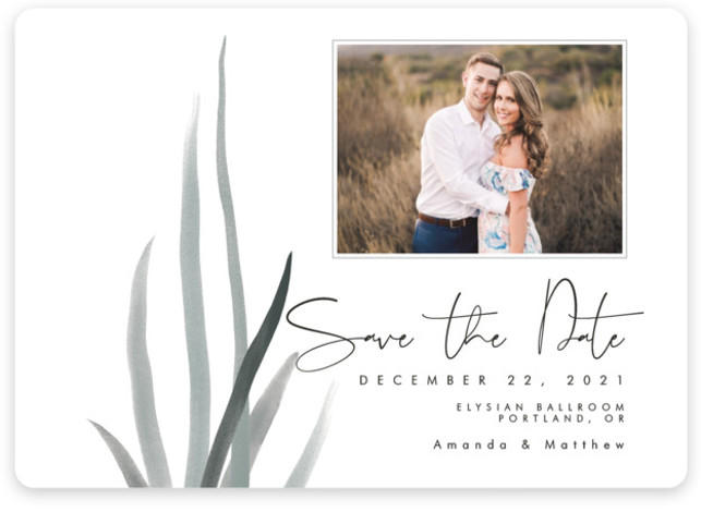 This is a botanical, grey Save the Dates by Elky Ink called Streams with Standard printing on Magnet Paper in Magnet Flat Card format. This Save the Date announcement features a single photo with abstractly placed soft watercolor streams.