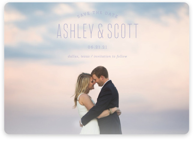 This is a landscape, portrait modern, purple Save the Dates by Sandra Picco Design called Sweetest with Standard printing on Magnet Paper in Magnet Flat Card format. A simple, clean design with modern typography shows off your favorite engagement photo. ...