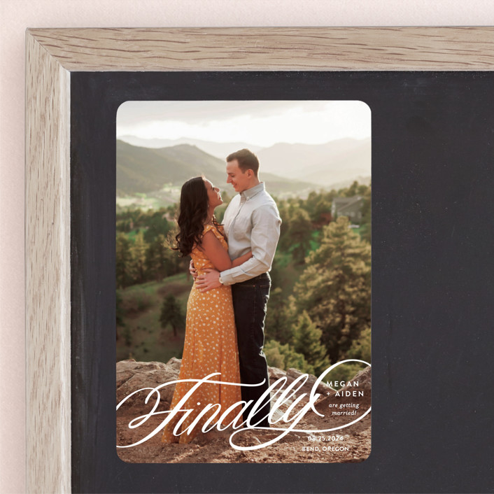 """""""Finally Getting Married"""" - Save The Date Magnets in Cotton by Jill Means."""