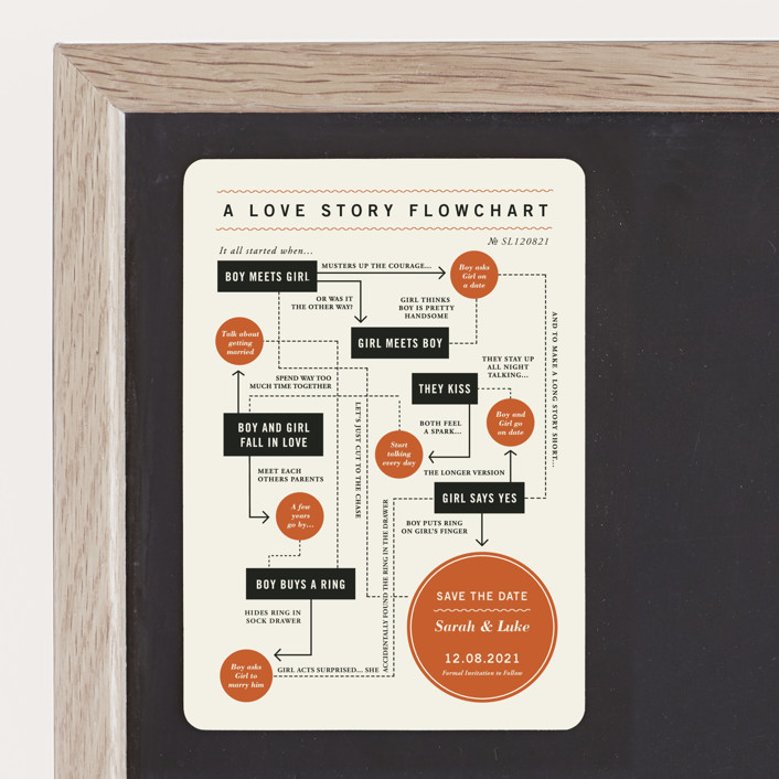 """""""Flowchart"""" - Whimsical & Funny, Modern Save The Date Magnets in Pumpkin by Paper and Parcel."""