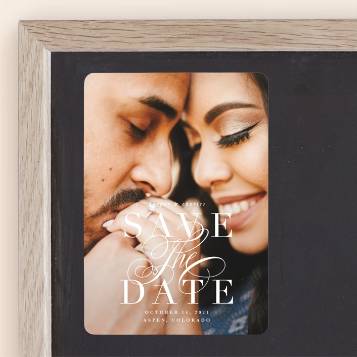 """""""Bonita"""" - Save The Date Magnets in Snow by Lauren Chism."""
